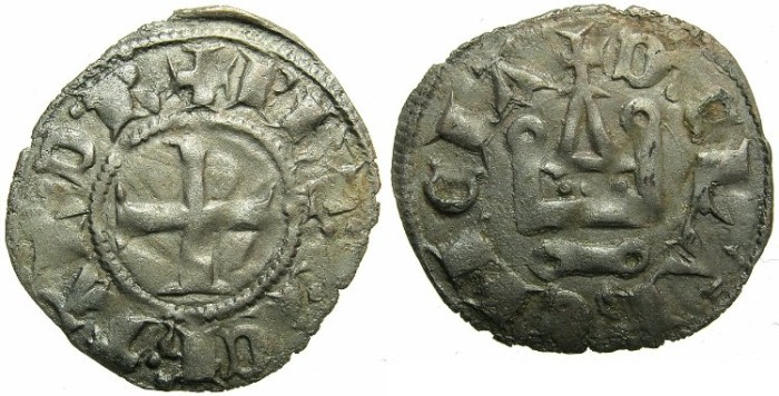 Ancient Coins - CRUSADER STATES.GREECE.Pincipality of ACHAIA.Philip of Taranto AD 1307-1313.Bi.Denier.Type 2.