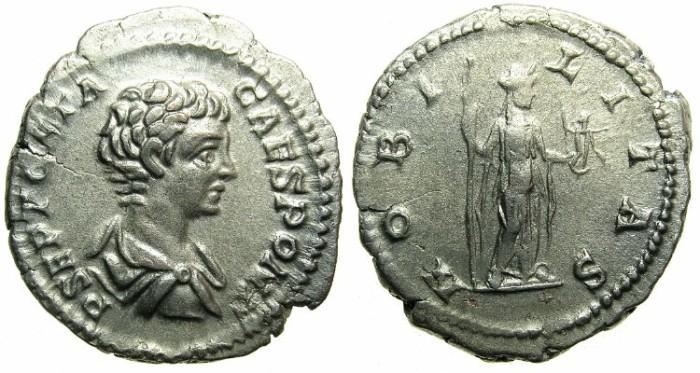 Ancient Coins - ROMAN.Geta Caesar AD 198-209.AR.Denarius, undated c.198-200.~~~Nobilitas