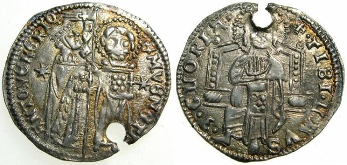 "Ancient Coins - ITALY.VENICE.Antonio Venier AD 1382-1400.AR.Grosso."""""" Pierced for suspension """""""
