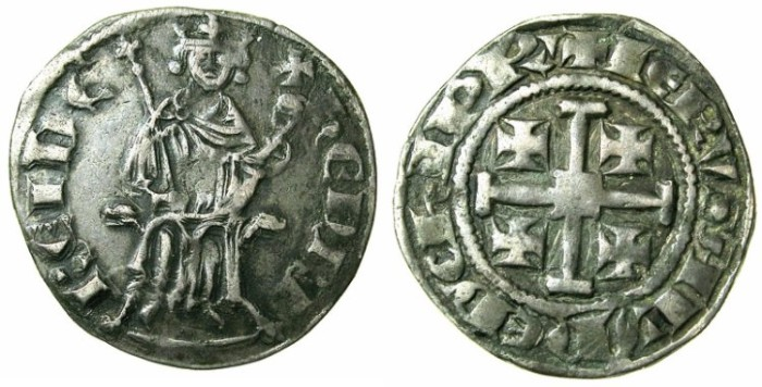 Ancient Coins - CRUSADER.CYPRUS.Henry II AD 1285 1310 AR Gros grand.Plain fields.