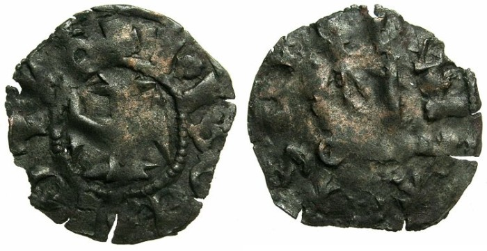 Ancient Coins - CRUSADER STATES.GREECE.EPIRUS.John II Orsini AD1323-1335. Bi.Denier.Struck at the castle ARTA.
