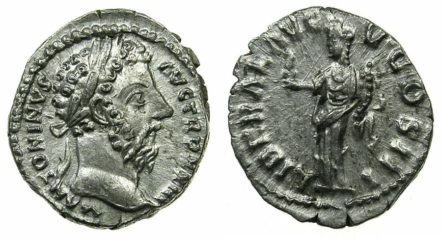 Ancient Coins - ROME.Marcus Aurelius AD 161-180.AR.Denarius, struck AD 169.Mint of ROME.~#~.Liberalitas holding abacus.