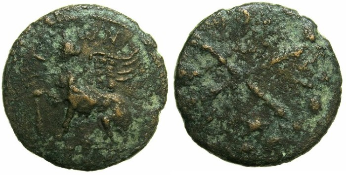 Ancient Coins - IONIA.Island of CHIOS.Imperial Times 1st-2nd cent AD.AE.11/2 Assaria.~~~Sphinx.~#~.Crossed thyrsi