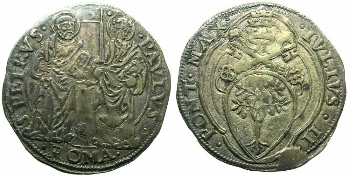 Ancient Coins - ITALY.VATICAN.Pope Julius II AD 1503-1513.AR.Giulio.Mint of ROME.Saints Peter and Paul.