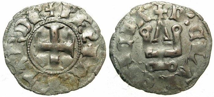 Ancient Coins - CRUSADER STATES.GREECE.Pincipality of ACHAIA.Philip of Taranto AD 1307-1313.Bi.Denier.Type 2.~~~Retrograde letter S