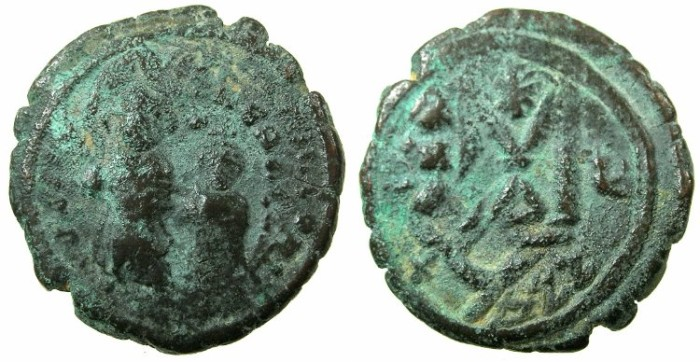 Ancient Coins - BYZANTINE EMPIRE.Heraclius AD 610-641.AE.Follis, struck AD 615/ 616.Mint of CONSTANTINOPLE?