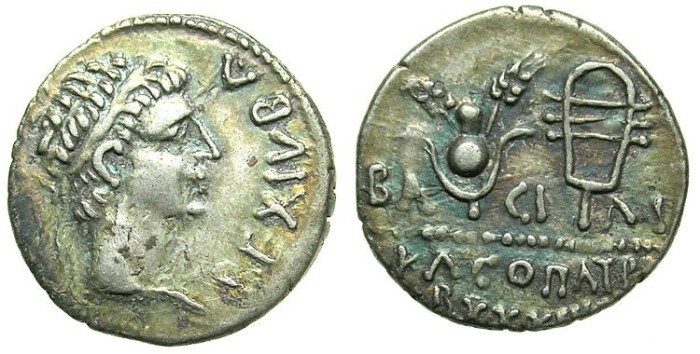 Ancient Coins - MAURENTANIA.Juba II and Cleopatra Selene 25-23 BC.AR.Denarius.