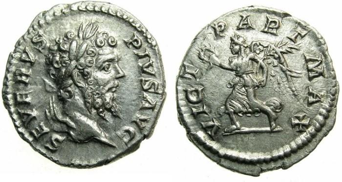 Ancient Coins - ROMAN.Septimius Severus AD 192-211.AR.Denarius undated issue c.202-210.~~~Victory over the PARTHIANS - Victory holding wreath