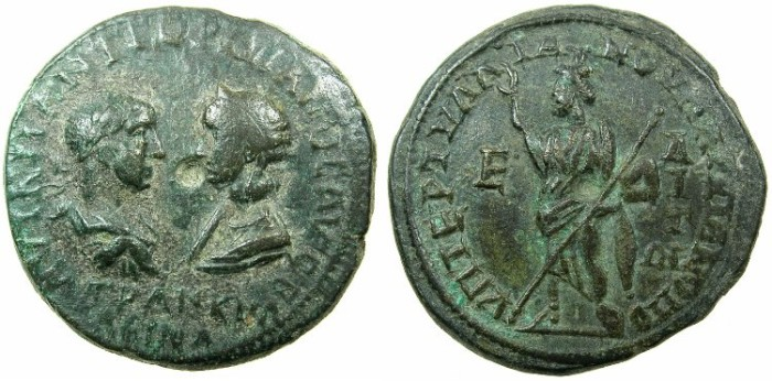 Ancient Coins - MOESIA INFERIOR.MARCIANOPOLIS.Gordian III and Tranquillina AD 241-244.AE.5 Assaria.~#~.Serapis standing.