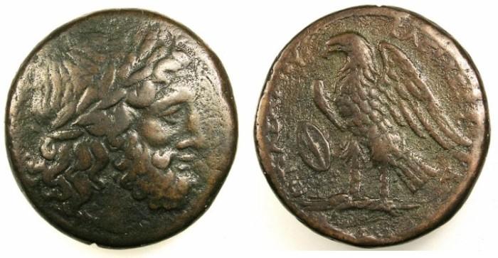Ancient Coins - PTOLEMAIC EMPIRE.EGYPT.ALEXANDRIA.Ptolemy II Philadelphos 285-246BC.AE.27.Zeus.Rev.Eagle.