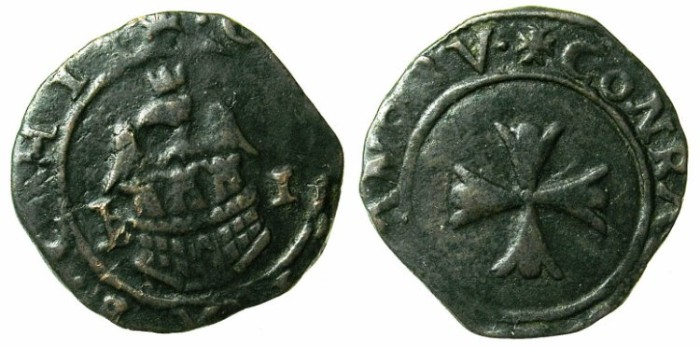 Ancient Coins - CRUSADER.CHIOS, The Mahona.Giambattista de Brizio Guistiniani Forneto AD 1507,1517 and 1521.AE.Tornese.