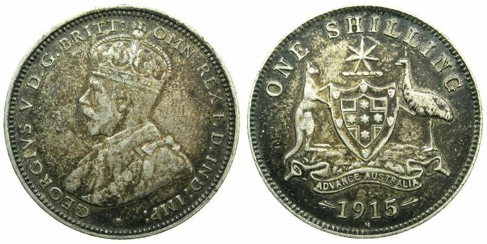 World Coins - AUSTRALIA.George V.AR.One Shilling 1915H.****RARE DATE ****