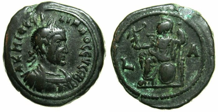 Ancient Coins - EGYPT.ALEXANDRIA.Philip I The Arab AD 244-249.Billon tetradrach, AD 244.***Rare first year of reign, Athena seated.