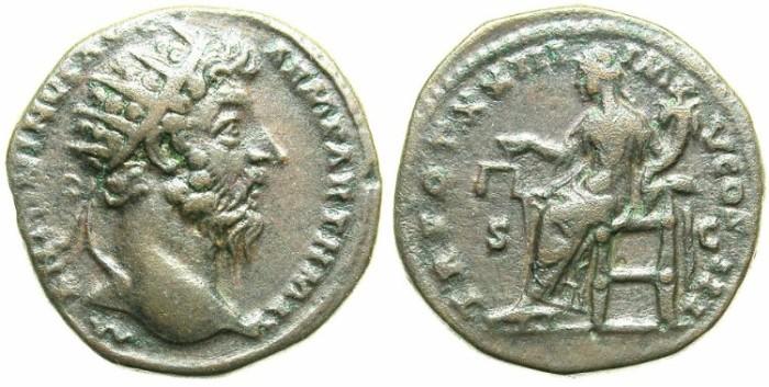 Ancient Coins - ROMAN.Marcus Aurelius AD 161-180.AE.Dupondius, struck AD 168/169.ROME mint.~#~Aequitas  seated.