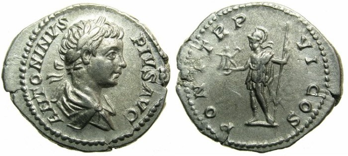 Ancient Coins - ROMAN.Caracalla Augustus AD 198-209.AR.Denarius AD 203.~~~Roma standing holding Victory.