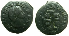 World Coins - ITALY.Kingdom of Two Sicilies.Philip IV of Spain and two Sicilies AD 1621-1647.AE.3 Cavalli 1625B.
