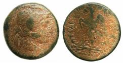 Ancient Coins - PTOLEMAIC EMPIRE.EGYPT.ALEXANDRIA.Ptolemy IV 221-205 BC AE.24.2mm. Head of Alexander The Great wearing Elephant scalp.
