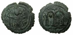 Ancient Coins - ARAB BYZANTINE.Anonymous 7th AD.AE.Fals.Standing Imperial figure.Pseudo al-Wafa Lillah mint.