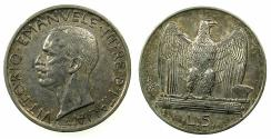 World Coins - ITALY.Victor Emanuele III 1900-1946.AR.5 Lire 1930.Mint of ROME.
