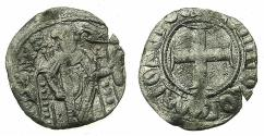 Ancient Coins - BYZANTINE EMPIRE.Andronicus II Palaeologus. Sole reign AD1282-1295.Billon Tornese.Mint of CONSTANTINOPLE. Emperor holds LABARUM for cross sceptre.