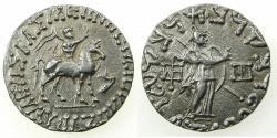 Ancient Coins - INDO SKYTHIAN.Azes circa 58-12BC.AR.Tetradrachm. Bilingual legends: Greek / Kharoshi. Reverse. Athena.