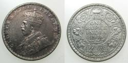 World Coins - INDIA, British Administration.George V 1910-1936.AR.Rupee 1918.