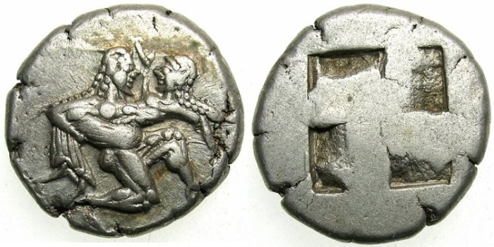 Ancient Coins - THRACE. Thasos. Circa 500-463 BC. AR Stater.Satyr carring off Nymph.