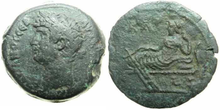 Ancient Coins - EGYPT.ALEXANDRIA.Hadrian AD 117-138.AE.Drachma, struck AD 136/37.~#~.Tyche reclining.