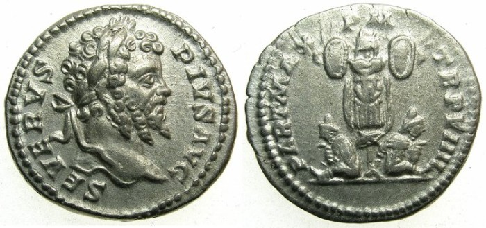 Ancient Coins - ROME.Septimius Severus AD 193-211.AR.Denarius AD 202.~~~Trophy and two captives.