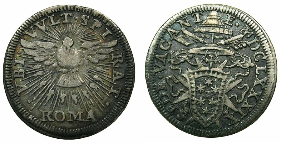 World Coins - ITALY.PAPALCY.Sede Vacante 1689.Carmerlengo Cardinal Paluzzo Paluzzi-Altieri 12th August-6th October 1689.AR.Grosso 1689.