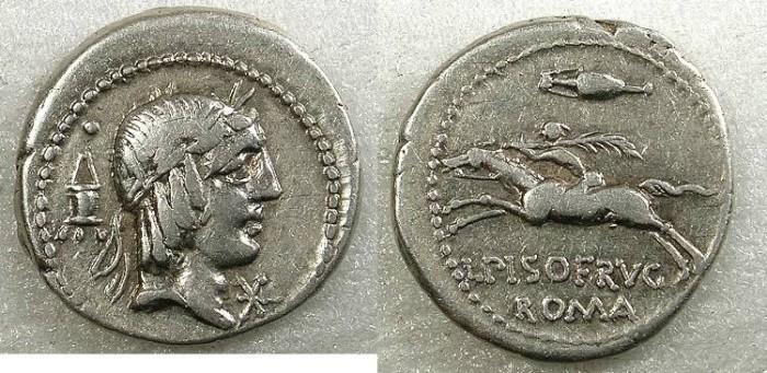 Ancient Coins - ROME Republic L Calpurnius Piso L.fl.n.Frugi 90BC AR Denarius Rev.Rider left