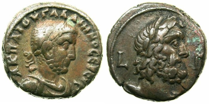 Ancient Coins - EGYPT.ALEXANDRIA.Gallienus AD 253-268.Bllon Tetradrachm struck AD 255/56.~#~.Bust of Zeus.