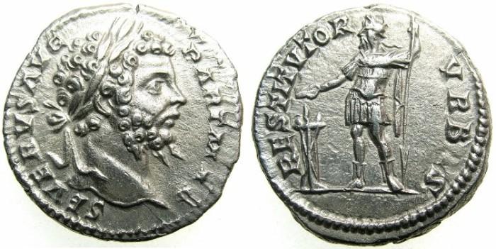 Ancient Coins - ROMAN.Septimius Severus AD 193-211.AR.Denarius undated c.200-201.~~~Severus in military garb sacrificing over altar.