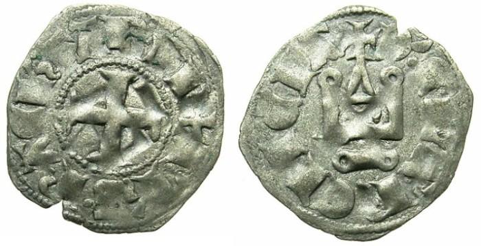 World Coins - CRUSADER.Principality of ACHAIA.Philip de Tarante AD 1307-1313.Bi.Denier.Type 2