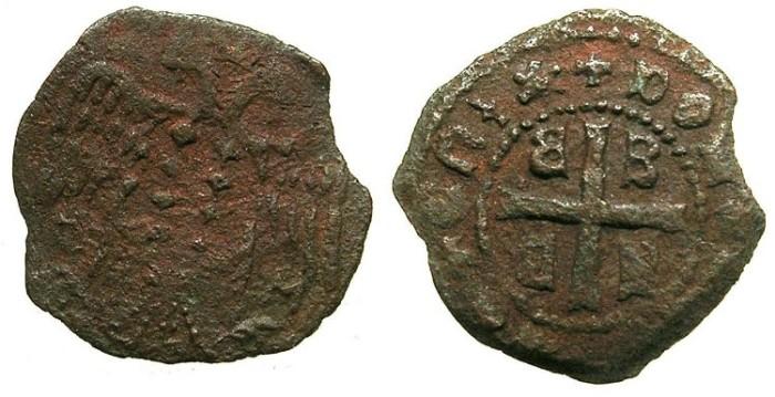 Ancient Coins - CRUSADER STATES.MYTILENE ( LESBOS ), Lordship.Dorino Gattilussio AD 1400-1449.AE.Denier.~~~Unpublished varient?