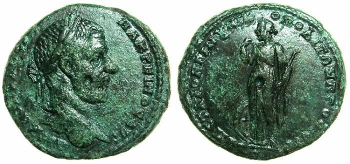 Ancient Coins - MOESIA INFERIOR.NIKOPOLIS AD ISTRUM.Macrinus AD 217-218.AE.27.6mm. ~#~.Nemesis standing.