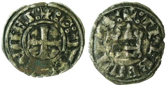 Ancient Coins - CRUSADER STATES.GREECE.ATHENS.William I of la Roche AD 1280-87 or Guy II of la Roche AD 1287-1308.Bi.Denier.Type GR 105.