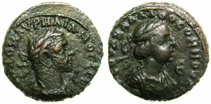 Ancient Coins - EGYPT.ALEXANDRIA.Aurelian and Vaballathus AD 270-271 .Bi.Tetradrachm.Year 2 of Aurelian and Year 5 of Vaballathus