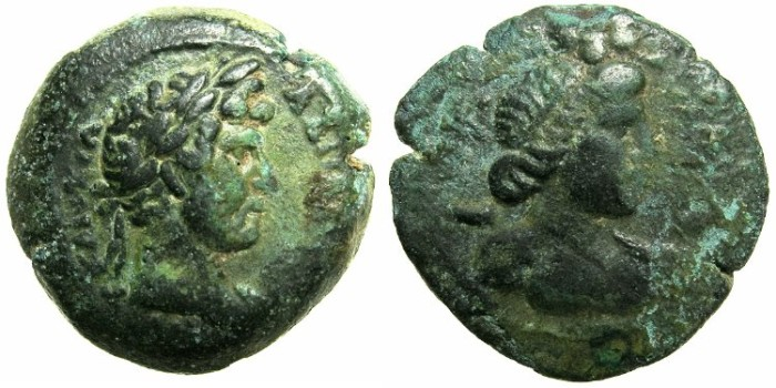 Ancient Coins - EGYPT.ALEXANDRIA.Hadrian AD 117-138.AE.Obol, struck AD 133/134.~#~Bust of Harpokrates.***Rare reverse type, date unpublished in Emmett***