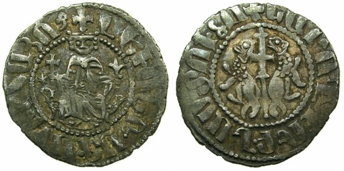 World Coins - CILICIAN ARMENIA.Levon I AD 1198-1219.AR.Tram.~~~.Star obverse, left field.
