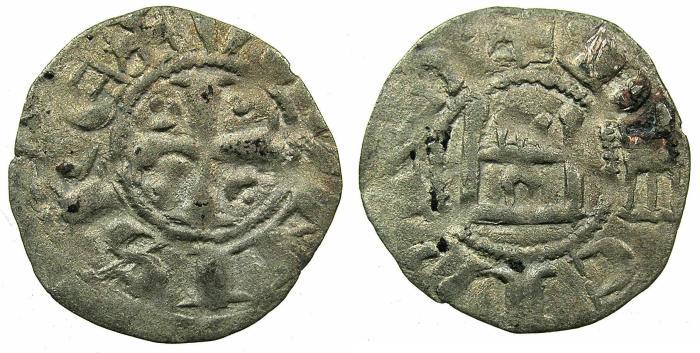 World Coins - CRUSADER STATES.CYPRUS.Hugh I AD 1205-1218, Regency of Gautier of Montbeliard.Billon Denier.