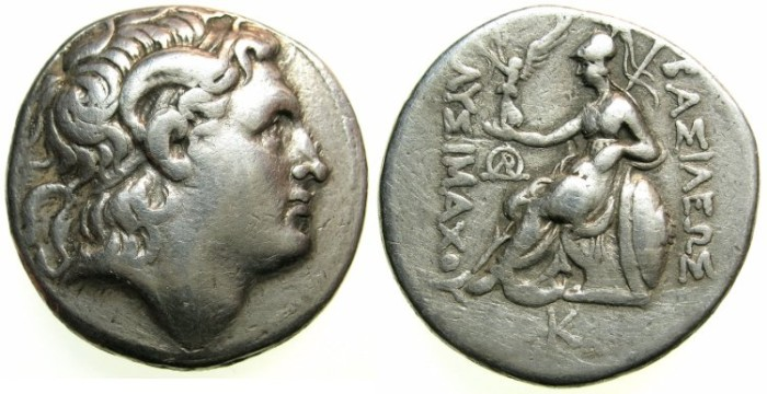 Ancient Coins - THRACE.Lysimachos 305-287 BC.AR.Tetradrachm.Pella mint, struck 286/5-282/1 BC.~~~Deified head of Alexander The Great.