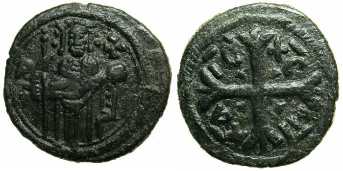 Ancient Coins - ITALY.SICILY.Roger II as count of Calabria and Sicily, Duke of Apulia AD 1127-1130.AE.Follaro.