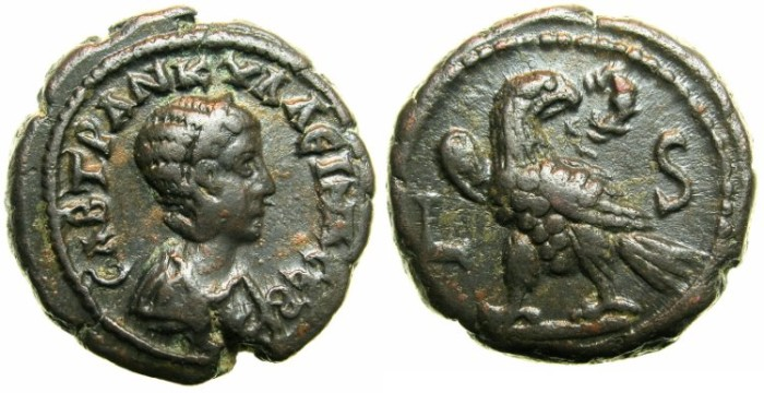 Ancient Coins - EGYPT.ALEXANDRIA.Tranquillina, wife of Gordian III AD 241-244.Billon tetradrachm.Struck AD 242/43.~#~Eagle, wreath in beak.