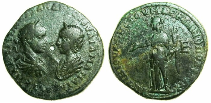 Ancient Coins - MOESIA INFERIOR.MARCIANOPOLIS.Severus Alexader AD 222-235 and his mother Julia Mamaea ( died AD 235 ).AE.5 Assaria. ~#~. Homonia standing.