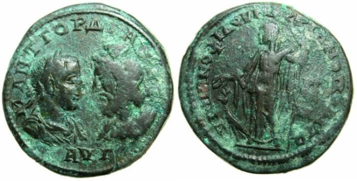 Ancient Coins - THRACE.MOESIA INFERIOR.MARCIANOPOLIS.Gordian III and Serapis AD238-244.AE.5 Assaria.~#~Artemis.