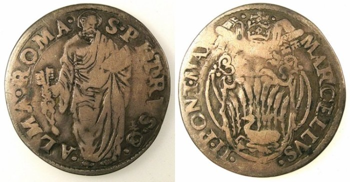 Ancient Coins - ITALY.VATICAN.Pope Marcellus II 9th April-1st May 1555.AR.Giulio.