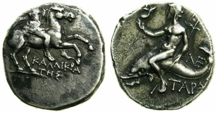 Ancient Coins - CALABRIA.TARENTUM.Circa 3rd cent BC.AR.Drachma.Magistrate Kallikratis.~#~Dolphin rider Taras or Phalanthus.