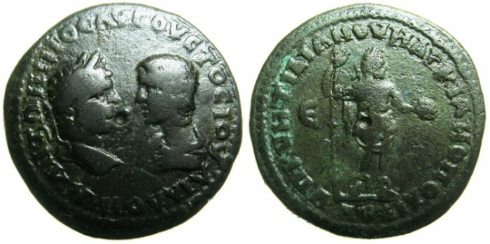 Ancient Coins - MOESIA INFERIOR.MARCIANOPOLIS.Caracalla and Julia Domna AD 212-217.AE.5 Assaria.~#~Emperor in military garb holding spear and patera.