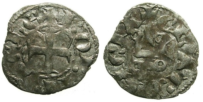 Ancient Coins - CRUSADER.GREECE.Principality of ACHAIA.Robert of Anjou-Tarente 1346-1364.Bi.Denier.TYPE A